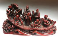 Chinese Eight Immortals in Boat Scene Red Resin Figurine Feng Shui Display
