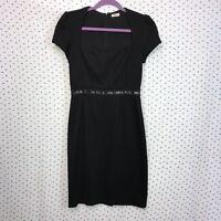 L'Agence Size 4 Black Cap Sleeve Wool Sheath Dress Women's Silk Lining Back Zip