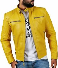 Men Yellow Motorcycle Quilted Biker Original New Stylish Leather Jacket For Men