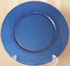 "Large Cobalt Blue Sparkly Glass Charger Chop Plate Platter Frosted 13"" NWOT"
