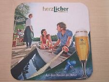 Beer Coaster ~ Licher Privatbrauerei (Bitburger), GERMANY ~ Couple in Canoe Boat