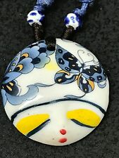"""Chinese Lucky Faces Hand Painted Ceramic Clay 18"""" Rope Necklace A4"""