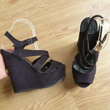 Oficina De Gamuza Negra Plataforma Con Tiras Tacones Altos Zapatos UK