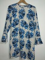 Tommy Hilfiger Jill Classic Blue Flower & Grey Dress White Size 4 XS UK Size 6