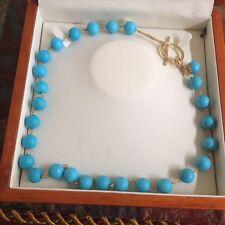 "Custom design natural turquoise bead necklace, 18kt gold link/drop. 20"""
