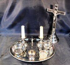 Versehgarnitur best. aus Kreuz Kerzenständer Schalen 9-teilig im gutem Zustand