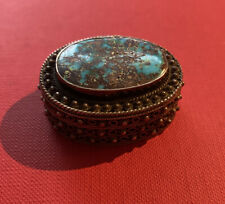 BEAUTIFUL 925 SOLID STERLING SILVER TRINKET PILL BOX  With Stone - Vintage.