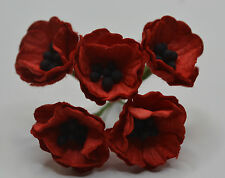 50 RED POPPY / PAPAVER (1.8 cm) Mulberry Paper weddings crafts cardmaking