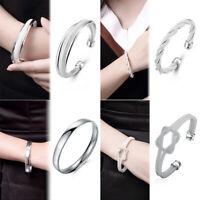 Women's 925 Sterlin Silver Solid Cuff Bangle Bracelet Fashion Jewelry Simple