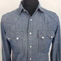 Levi's Mens Western Shirt Snap On Buttons SMALL Long Sleeve Blue Slim Fit Cotton