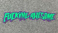 F*CKING  AWESOME Skateboard Sticker Small Green/Purple 3.75in si