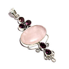Fresh! Purple Amethyst and Pink Rose Quartz Silver Plated Handmade Pendant 2.75""