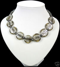 Smokey grey/brown Hoja De Plata De Cristal De Murano Collar
