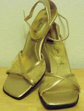 """r- SHOES WOMENS SZ 6.5 SANDALS GOLD FIONI ANKLE STRAP MESH OVER FOOT 3"""" HEEL"""