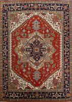 RUST/NAVY Heriz Serapi Area Rug Hand-Knotted Wool Oriental Geometric Carpet 9x12