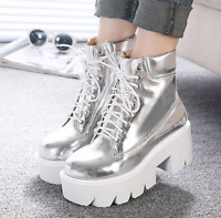 Womens Casual Sneakers Platform Lace Up Shoes Hidden Wedge Heel Ankle Boots