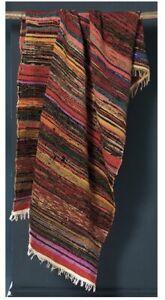 Multicolour Blanket Throw Rug stripe Large FairTrade Handmade India Sari Cotton