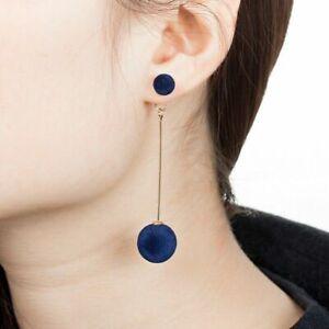 Summer Fashion Women Plush Ball Long Drop Dangle Pendant Ear Stud Lady Earrings