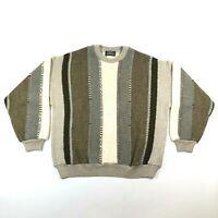 Tundra Canada Mens L Wool Blend Striped Textured Beige Sweater Biggie Cosby