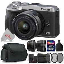 Canon EOS M6 Mark II Mirrorless Camera Silver with 15-45mm + Top Accessory Kit
