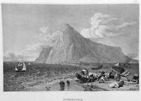 Mediterranean Sea ROCK OF GIBRALTAR O'Hara's Tower, Old 1837 Art Print Engraving