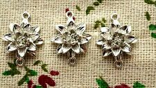 Lotus flower silver connector charm jewellery supplies C1178