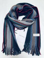 Paul Smith Men Scarf Made In Germany 100% New Wool Multi Dark Green/Grey