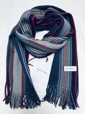 Paul Smith Men Scarf Made In Germany 100% New Wool Multi Dark Green/Grey