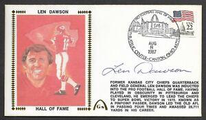 Len Dawson Autographed Hall Of Fame Gateway Stamp Cachet Envelope HOF Postmark