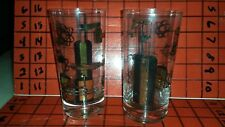 Pair of Vintage Atomic Nuclear Hydroelectric Industrial Tom Collins Glasses Gold
