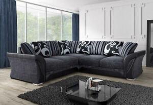 New Farrow Fabric Corner Sofa 3,2 Sofa Grey Chenille 5 Seater L Shape 2c2 Suit