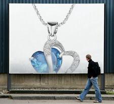 Fashion Creative Design Silver Women Style Necklace Pendant Blue Stone Charming