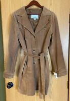 NWT Wilsons Leather Maxima Women's Trench Coat Suede Belted Jacket Size XL