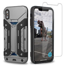 iPhone x Case Slim Shockproof Armor Wallet Stand [Supports Wireless Charging] AU