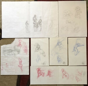 Tim Vigil of Faust Fame Original Art 8 Pages Female Figure Studies