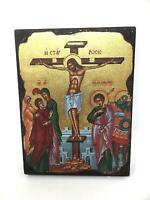 Crucifixion of Jesus Christ Picture Icon Style Religious Wall Plaque Decor