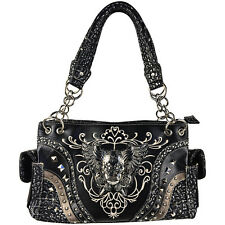 BLACK RHINESTONE STUDDED SKULL WITH WINGS LOOK SHOULDER HANDBAG CONCEALED CARRY