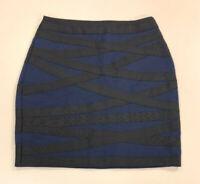 Express womens black dark blue stripped stretch above knee party skirt size XXS