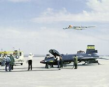 NASA X-15 rocket plane at Edwards with B-52 mothership flying above Photo Print
