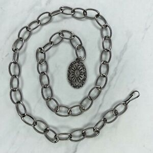 """Silver Tone Studded Charm Belly Body Chain Link Belt Size XS 32"""""""