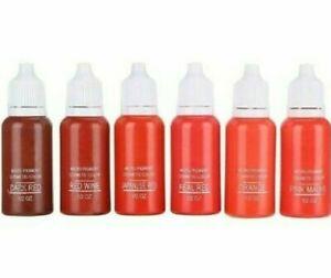 6 Bio Touch Permanent Makeup Farben  PMU 6x15 ML .Neu für Lippen