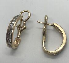 14k Yellow Gold  Diamond Omega Back Huggie Half  Hoop Earrings .75 TCW