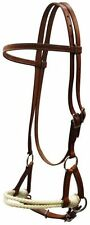 Brown Leather Western Side Pull Sidepull with Rope Nose Headstall Bitless Bridle