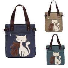 Women Handbag Shoulder Bags Tote Purse Canvas Cute Cat Women Messenger Bag