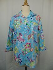 Ralph Lauren Sleepwear, Floral Paisley Pajama Top Turquoise XS X-Small #3780