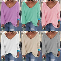Women Girls Casual Long Sleeve Knitted V Neck Loose Sweater Jumper Tops Knitwear
