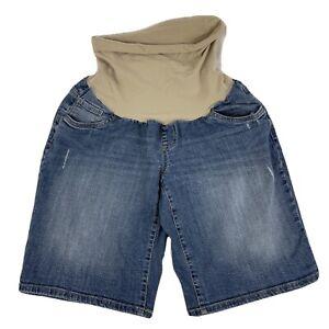 "Oh Baby by Motherhood Maternity Blue Denim Jean Shorts Sz XL 11"" Full Belly Band"