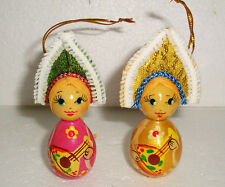 TWO BEAUTIFUL RUSSIAN DOLLS~CHRISTMAS ORNAMENTS~GIRLFRIENDS~HANDPAINTED~WOOD