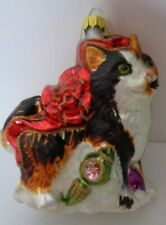 "Cat Kitty Blown Glass Christmas Ornament Red Bow 5"" Tall Kitten Black & White"