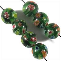 Set di 10 Perline Millefiori in vetro 8mm Verde fiorito